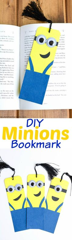 The Minions movie is here!We've been seeing lots of great Minion-inspired projects out there and wanted to share our favourite five. Cute Crafts, Crafts To Do, Crafts For Kids, Projects For Kids, Diy For Kids, Diy Projects, Diy Marque Page, Minion Craft, Diy Bookmarks