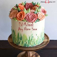 Write name on Buttercream Flower Eid Wish Name Cake with Name And Wishes Images and create free Online And Wishes Images with name online. - Happy Eid Mubarak Wishes  IMAGES, GIF, ANIMATED GIF, WALLPAPER, STICKER FOR WHATSAPP & FACEBOOK