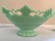 Jadeite Console Table Bowl And Matching Candle Holders Beautiful Design