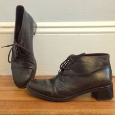 Free US Shipping | Brown Leather Lace Up Ankle Boots with Chunky Heel | US 6.5