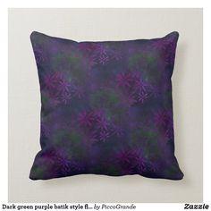 Dark green purple batik style floral pattern fleec throw pillow Personalized Buttons, Batik Pattern, Green Home Decor, Home Decor Online, Custom Pillows, Green And Purple, Lavender, Aesthetics, Throw Pillows