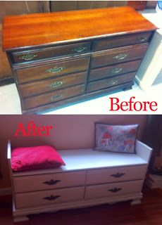 Old Dresser Turned Into a Space-Saving Window Seat Bench with Shoe Storage. Americangoodz.com for space-saving ideas.