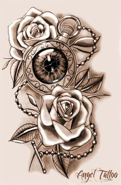 Rose Drawing Tattoo, Tattoo Drawings, Time Tattoos, Body Art Tattoos, Intim Tattoo, Pocket Watch Drawing, Intimate Tattoos, Rose Tattoos For Women, Tattoo Designs