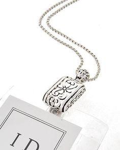 Id badge holder silver angel badge holder necklace for Brighton badge holder jewelry