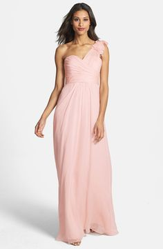 Amsale Illusion Shoulder Crinkled Silk Chiffon Dress