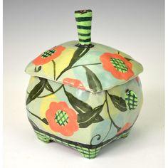 Small Green Jar Four Feet by nancyandburt on Etsy