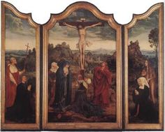 Christ on the Cross with Donors - Quentin Massys.  c.1520.  Oil on wood.  Central panel:  156 x 92.7 cm, Each wing:  158.8 x 42.2 cm.  Museum Meyer van den Bergh, Antwerp, Belgium.