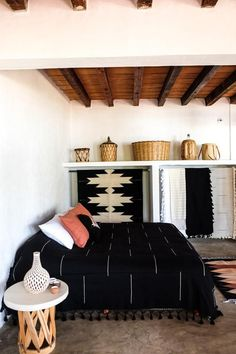 Color: black with white accents and tasselsDimensions: Individual  160 x 270   Queen: 250 x 290 cm   King: 300 x 300 cmConstruction: Handwoven with 100% cottonOrigin: MexicoWeavers: Zapotec weaving communitiesHandwoven from 100% cotton, this is the perfect lightweight blanket to throw over your bed or couch.Our favorite feature is the tassel fringe, completing your perfect boho living space. Don't be fooled though, this blanket is incredibly durable, perfect for daily use in your home.A simplist Mexican Blanket Decor, Mexican Blankets, Black Couches, Home Decor Bedroom, Mexican Bedroom Decor, Bedroom Ideas, Modern Bedroom, Black Bedding, My New Room
