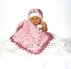 Baby blanket and hat set was crochet with a high quality soft yarn. The blanket is the perfect size for the baby not to big not to small. The hat will fit a 0-3 months baby.