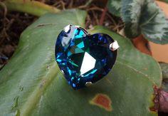 """Anello cuore Swarovski """"crystal bermuda blue"""" : Anelli di pittittio-ita"""