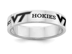 Virginia Tech Hokies Ring | Sterling Silver | Stainless Steel | 5mm, 6mm and 8mm Width | Officially Licensed | Band Style