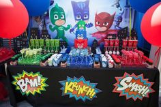 Party details from a PJ Masks Superhero Birthday Party via Kara's Party Ideas | KarasPartyIdeas.com (6)