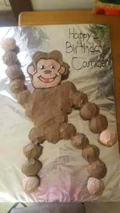 Curious george monkey cupcake cake for a birthday party