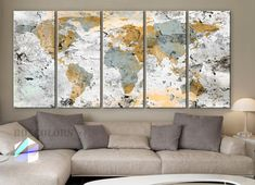 XLARGE 30x 70 5 Panels Art Canvas Print World Map by BoxColors
