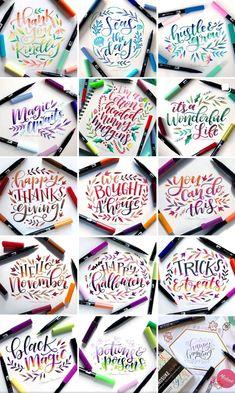 Cute Qoutes, Hand Lettering Alphabet, Brush Pen, Magick, Pens, Bullet Journal, Calligraphy, Doodle Flowers, Hand Lettering Quotes