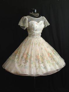 Vintage 1950's 50s White Floral Flocked Chiffon by VintageVortex, $349.99
