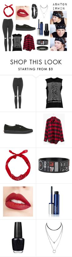 """""""Ashton Irwin"""" by kateloves5sos on Polyvore featuring Topshop, Boohoo, Vans, Madewell, Jouer, Clinique and OPI"""
