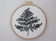 Black Leaf Wall or Door Hanging Embroidery Hoop by BoutiqueAmulet