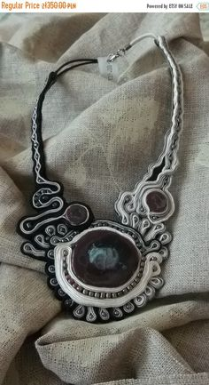 FREE SHIPPING Soutache necklace soutache jewelry by fripperyart