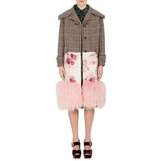Prada Women's Fox-Fur-Trimmed Wool-Blend Coat ($6,800) ❤ liked on Polyvore featuring outerwear, coats, oversized coat, fuzzy coat, pink oversized coat, hounds tooth coat and oversized collar coat