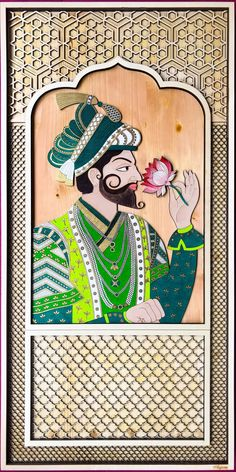 My own take on Rajasthani style art with Rajasthani & Mughal latticework. An Indian painting of a Mughal King. high x wide on a solid Pine wood base and re-engineered Poplar wood for the other elements. King Painting, Painting On Wood, Original Art, Original Paintings, Art Paintings, Wood Cutouts, Wooden Art, Indian Art, Figurative Art