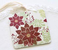 Handmade Christmas gift tags | Christmas Gift Tags Handmade Vintage Style Poinsettia Folk Art ...