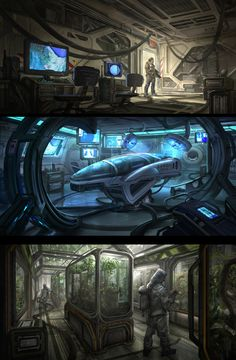Sci-Fi Interiors by eddie-mendoza bridge lab astronaut guard space station spacecraft spaceship landscape location environment architecture | Create your own roleplaying game material w/ RPG Bard: www.rpgbard.com | Writing inspiration for Dungeons and Dragons DND D&D Pathfinder PFRPG Warhammer 40k Star Wars Shadowrun Call of Cthulhu Lord of the Rings LoTR + d20 fantasy science fiction scifi horror design | Not Trusty Sword art: click artwork for source