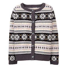 Girl Grey Fair Isle Fair Isle Cardigan by Gymboree Toddler Girl Outfits, Kids Outfits, Toddler Girls, Girls Sweaters, Knitting Designs, Gymboree, Shirts For Girls, Sweatshirts, Grey
