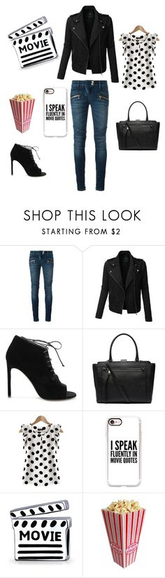 """Movie Night"" by gabgirl54321 ❤ liked on Polyvore featuring Balmain, LE3NO, Yves Saint Laurent, Witchery, Casetify and Bling Jewelry"