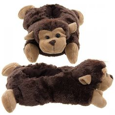 d5a6f3bbc772 Wishpets Brown Monkey Animal Slippers