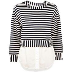 Derek Lam 10 Crosby 2 in 1 Sweatshirt ($395) ❤ liked on Polyvore featuring tops, hoodies, sweatshirts, shirts, sweaters, blouses, navy stripe, striped long sleeve shirt, white striped shirt and navy striped shirt