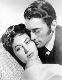Con Gregory Peck sul set del film  Il grande peccatore  del 1949. . Foto-gallery e immagini