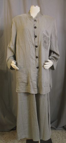 Carole Little 16W Silver Gray Bronze Embroidered Tunic Shirt Long Skirt Outfit