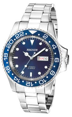 63a338257bf Magnum MA33844F Men s Watch Automatic Blue Dial Silver-Tone Stainless Steel