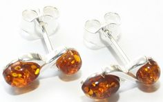 Love Amber x Double Baltic Amber Cognac Drops Silver 925 Stud Earrings