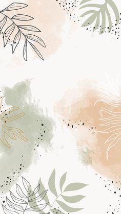 Download premium vector of Beige leafy watercolor mobile phone wallpaper