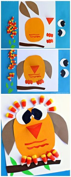 Candy Corn #Owl Craft - Great fall craft for kids to make! | http://CraftyMorning.com #kidscraft #preschool