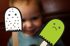 The Chocolate Chip Ghost Story and free printable puppets. CUTE!
