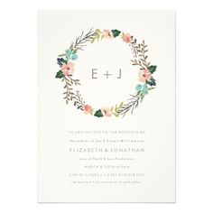 Watercolor Floral Wreath Wedding Invitation; monogram with simple type