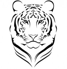 the tiger head silhouette - embroidery pattern Tiger Drawing, Tiger Art, Tiger Head, The Tiger, Tiger Silhouette, Silhouette Tattoos, Tiger Images, Tiger Pictures, Stencil Art