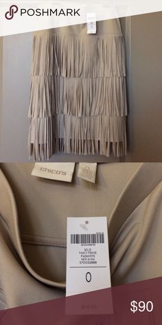 Chico's fancy fringe new khaki skirt New with tags!! Fun skirt with fringe - dress up or down! Chico's size 0 is about equal to sizes 4-6. Chico's Skirts