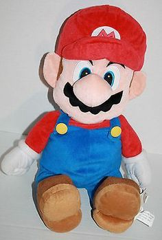 "Super Mario Brothers red blue plush Doll 2012 Zipper 24"" Nintendo stuffed animal"