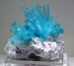 Aquamarine crystal cluster on quartz matrix with schorl.