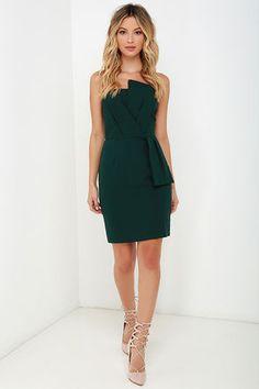 Sweet and Sassy Dark Green Strapless Dress at Lulus.com!
