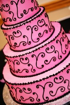 Pink buttercream cake with black by TinyCarmen