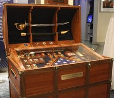 Antique Trunk Used as Navy Retirement Gift for Chief Petty Officer with Cutlass in Lid