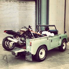 Land Rover - room for Italian bike. Who would have thunk.