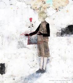 yoko-tanji Girl with book and rose