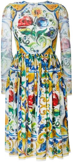 Dolce & Gabbana Majolica print brocade dress