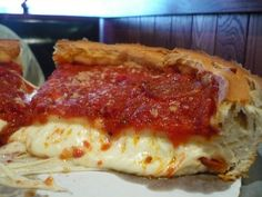 Deep dish pizza from Giordano's in Chicago.